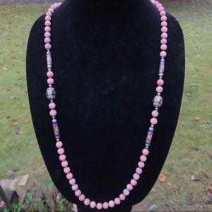 Rhodochrosite cloisonné necklace